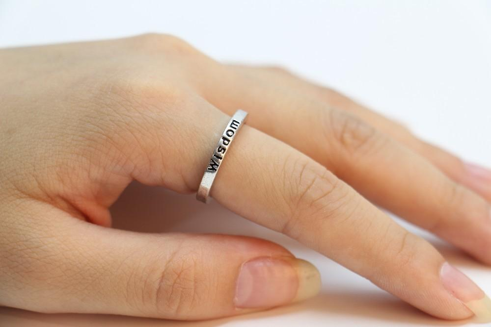 """Fashion exclusive retro ring silver plating ring letter """"wisdom"""" rings for women Wholesale and mixed color"""