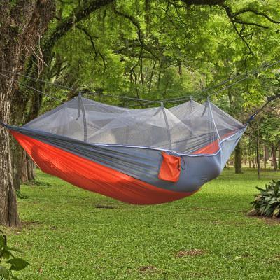 Hot Travel Doppel Hängesessel mit Moskitonetz Licht Nylon Garten Schaukel Hängenden Camp Luftzelt Outdoor Möbel Bett