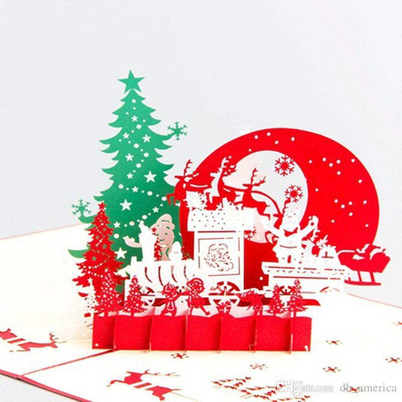 Kreative Weihnachtskarten.Kreative Weihnachtskarten 3d Hohl Handgemachte Karte Pop Up Weihnachtsabend Karten Geschenk Für Geburtstagsfeier Geschenk