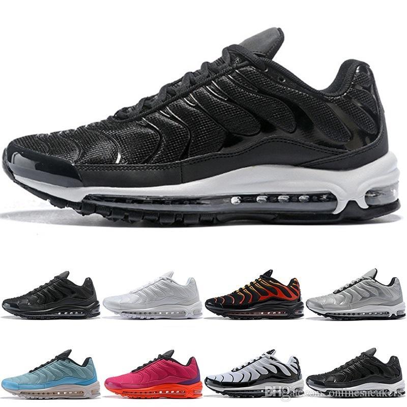 big sale f94ed e0374 Acheter Nike Air Max 97 Plus Airmax 97 Plus Chaussures De Course Hommes  Femmes Triple Blanc Noir Argenté Or Bullet Marine Bleu Feu Rouge Core Oreo  Mens ...