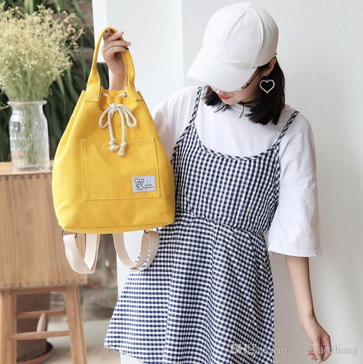 Korean Version Small Fresh Canvas Backpack New Female Student Casual Backpack  String Bucket Casual Travel Bag Korean Version Fresh Canvas Backpack New ... 6c30f53371