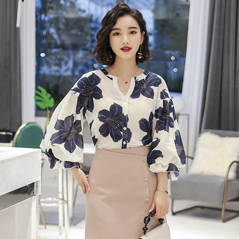 5068fbdaef5 2019 ZJYT Korean Style Fashion Womens Tops And Blouses 2018 Summer Autumn  Flare Sleeve Flower Print Shirt Blouse Elegant Lady Office From Duanhu