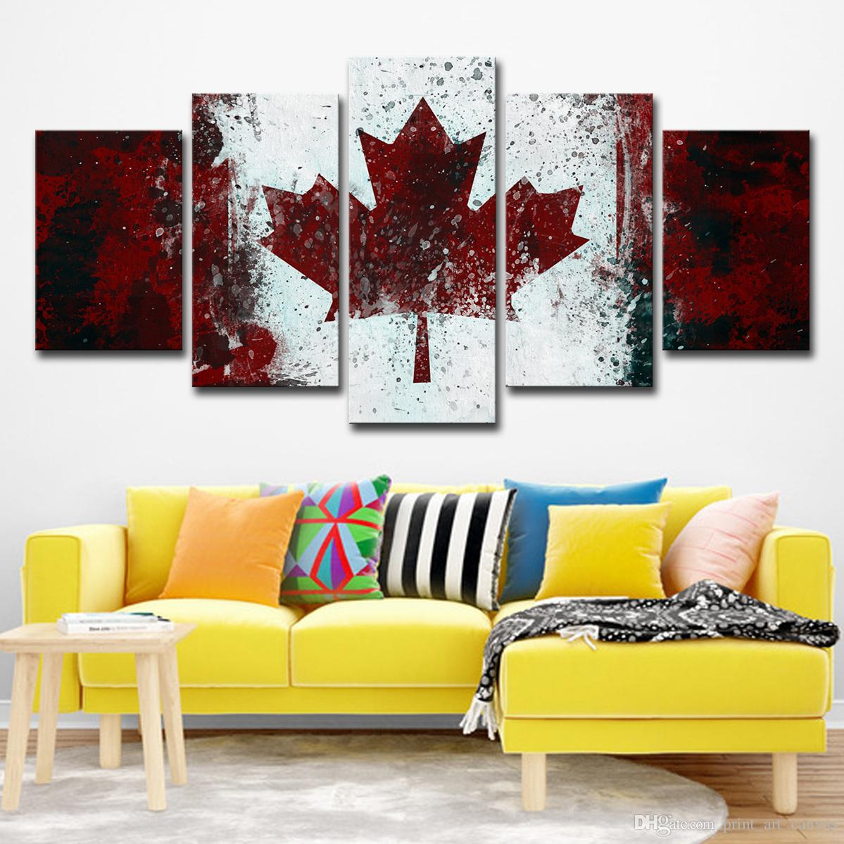 Modern hd printed wall art painting canvas print room decor print poster 5 panels canada national flag picture canvas home decor canada 2019 from