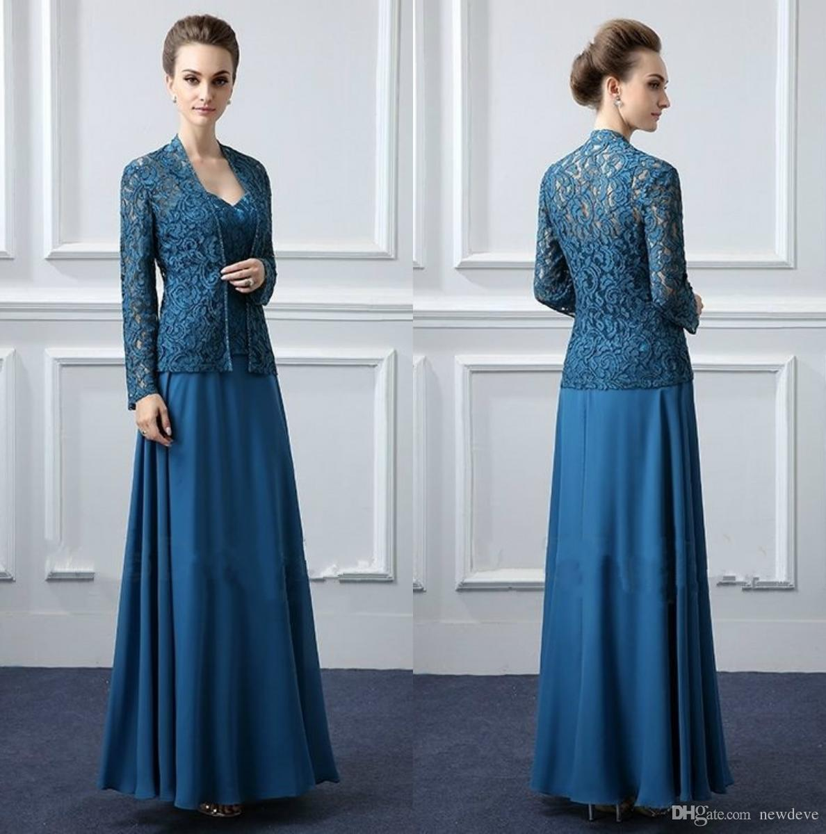 Dark Blue Lace Mother Of The Groom Dresses With Jacket Floor Length ...