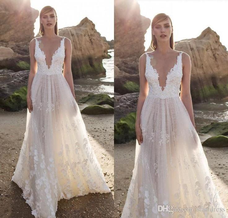 Élégant Bohemian Beach Country Wedding Dresses branchent Plus Size Floral Appliques Robes de mariée bon marché personnalisé 2018 robe de mariée Boho été