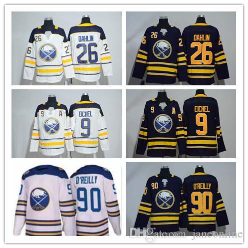 Men s 9 Jack Eichel Hockey Jerseys 2018 Buffalo Sabres 26 Rasmus ... 5b23f1dca