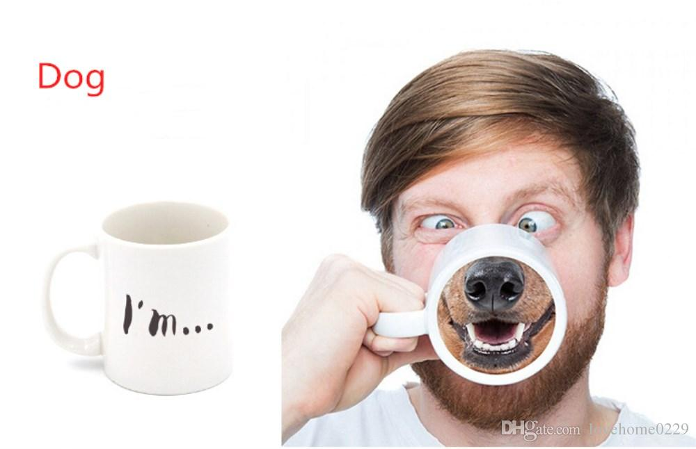 2019 Funny Novelty Gift Dog Nose Cup Coffee Tea Cup Ceramic Mugs