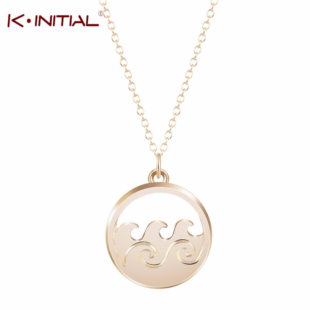 b080a6f9fcb69a Whole Kinitial Ocean Wave Pendant Necklace Long Sweater Chain