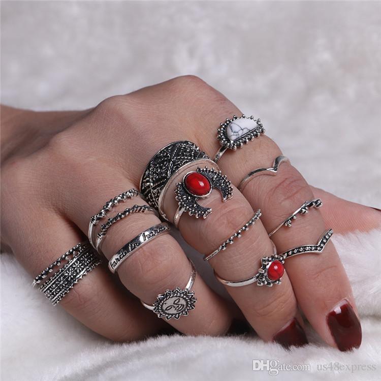 14 pezzi / set Vintage Punk Midi Anelli Set 2018 Argento antico Colore Bianco Rosso Pietra Sole Boho Knuckle Ring le donne all'ingrosso della fabbrica