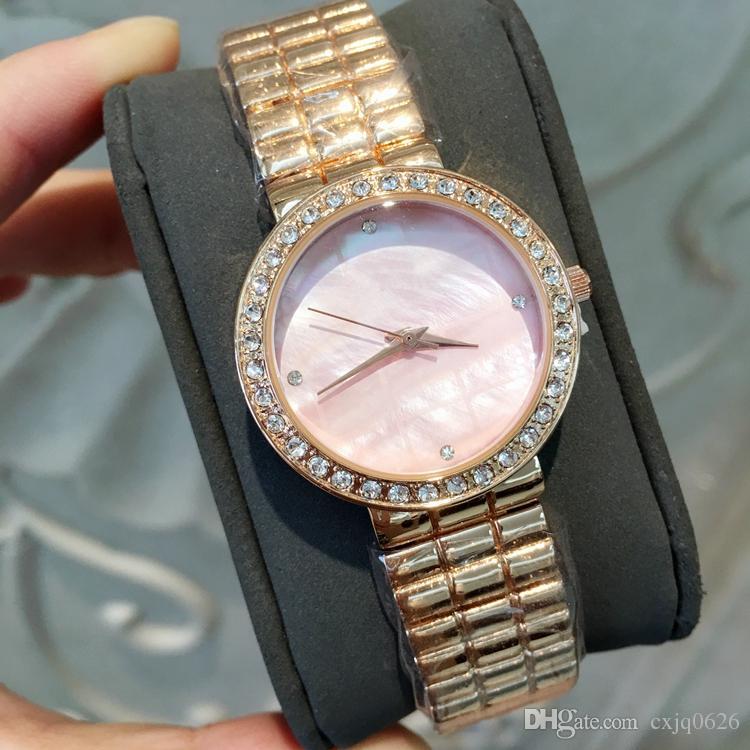 Compre Top Marca De Moda Reloj De Las Mujeres Con El Dial Del Diamante  Shell De Color Rosa De Acero Inoxidable De Lujo Dama Reloj De Pulsera De Oro  Rosa ... 2dbc15f6d8a9