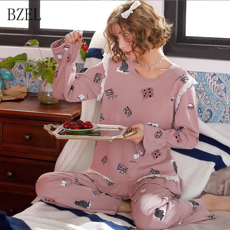 a5d87af326 2019 BZEL Women S Cartoon Sleepwear Print Long Sleeves Autumn Winter Pajama  Sets Sweet Cute Female Loose Sleep Lounge Pyjamas Women From Zhexie