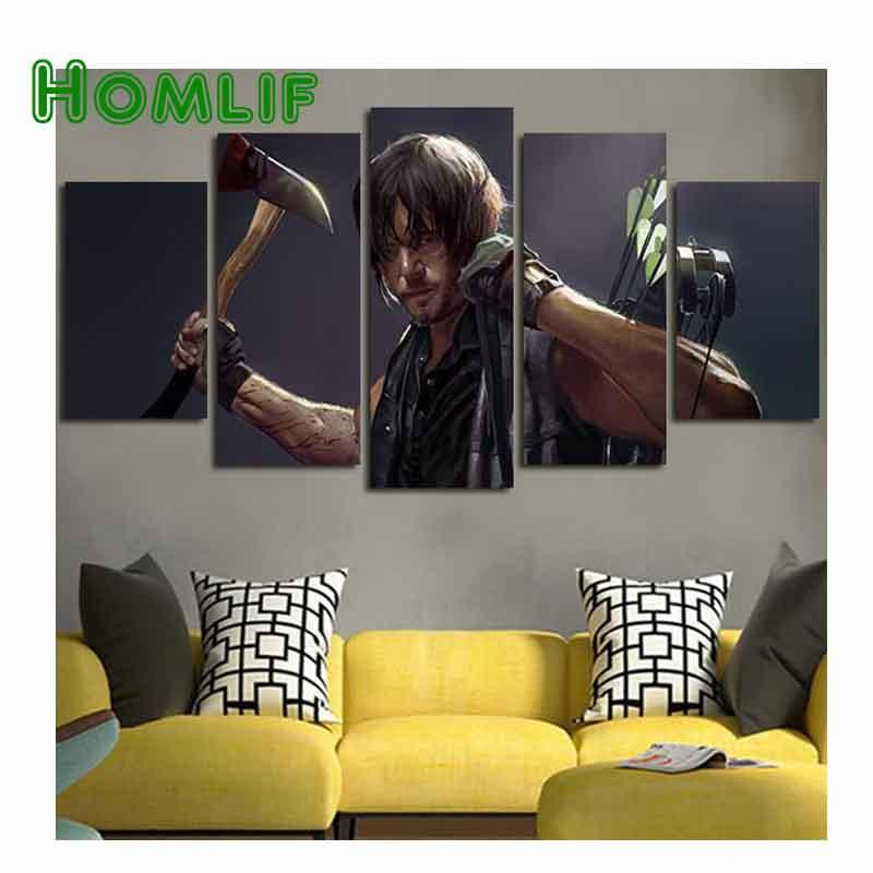 5 Pane The Walking Dead Full square Drill DIY Diamond Painting Cross Stitch Mosaic Needlework 5D Diamond Embroidery Home Decor