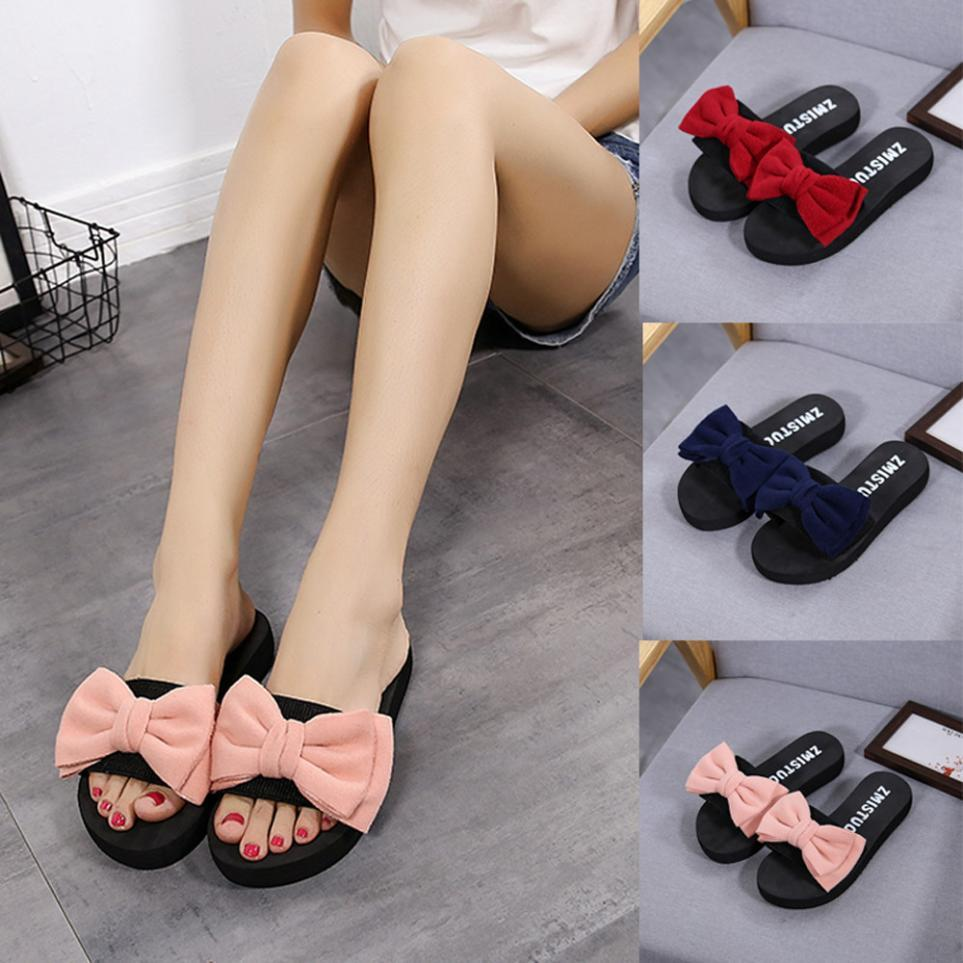 bc8503176 Women Bow Summer Sandals Slipper Indoor Outdoor Flip Flops Beach Shoes New  Fashion Female Casual Flower Slipper Woman Shoes Wide Calf Boots Shoes For  Women ...