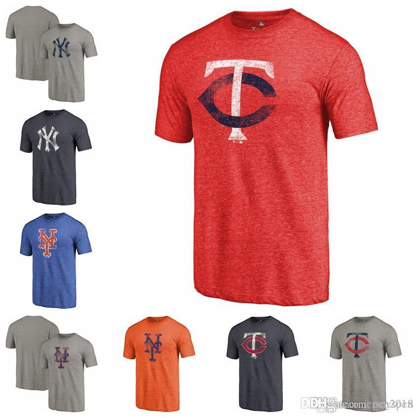 72b38048d 2019 New York Mets Yankees Minnesota Twins Fanatics Branded Logo Distressed  Team Tri Blend T Shirt Heathered Orange Navy Gray Red From Pen2018