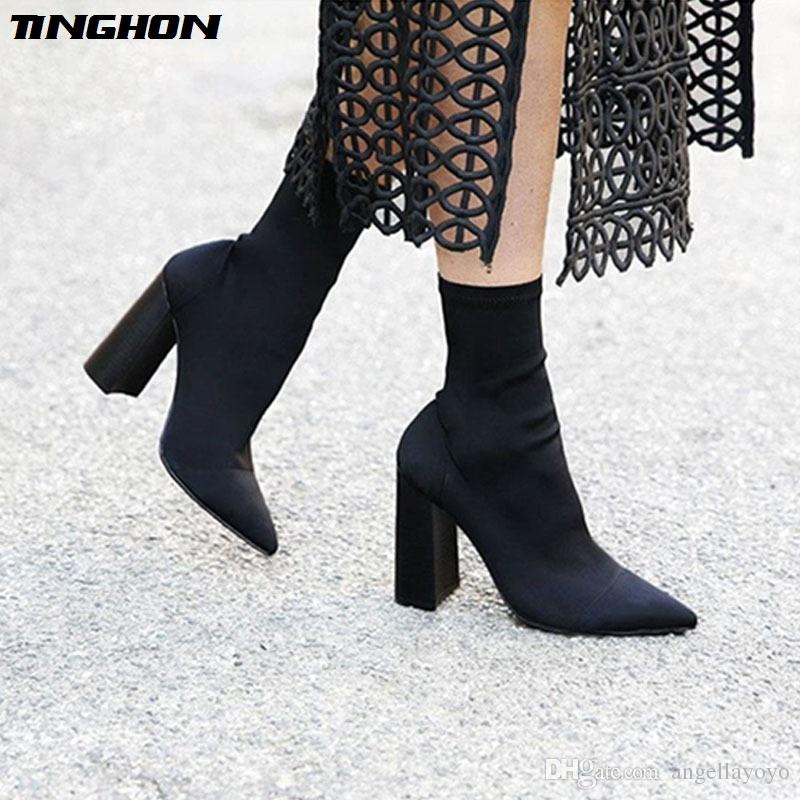 Woman Fashion Slim Stretch Ankle Boots for Women Pointed Toe Sock ... 4fd19e7b2bd4