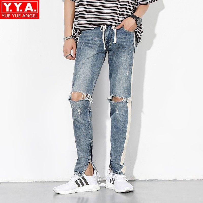Acquista High Street Jeans Uomo Buco Strappato Blu Lavato Lato Cerniera A  Strisce Slim Fit Pantaloni Denim Moda Coulisse Pantaloni Beggar Uomo A   128.82 Dal ... 713432910d2