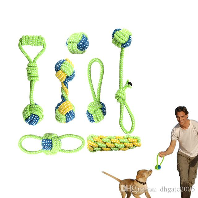 Pet Dog Cotton Rope Toy Knot Puppy Chew Teething Toys Teeth Cleaning Pet Palying Ball For Small Medium Large Dog