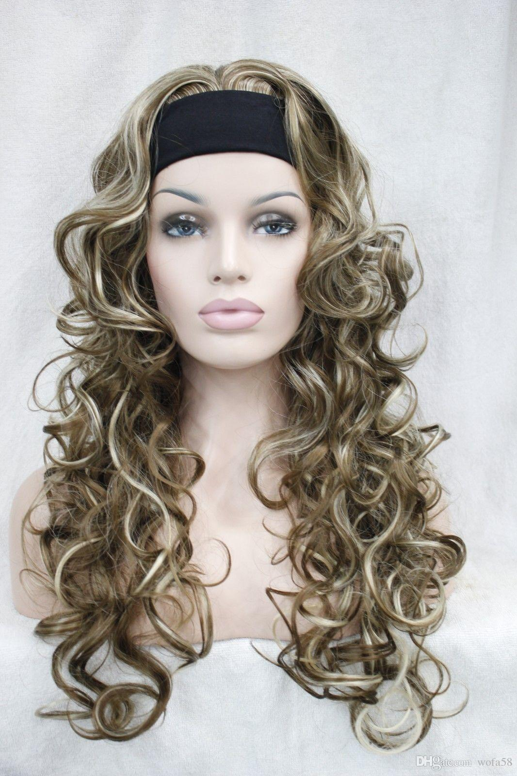 Cute 34 Wig With Headband Light Brown With Blonde Highlight Curly