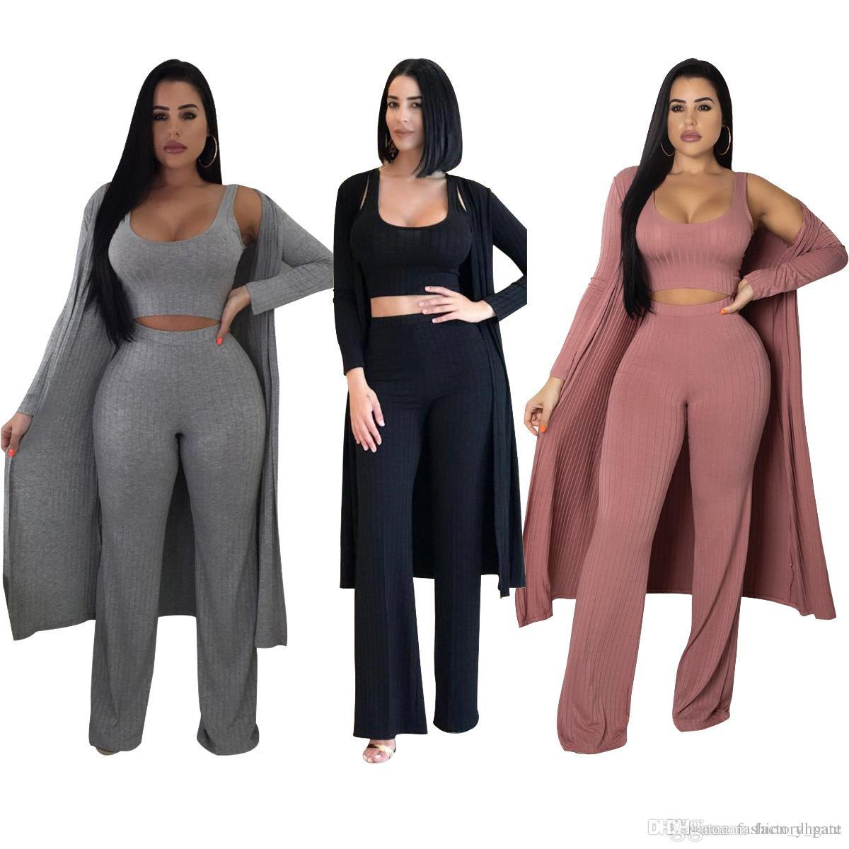 85b88344aaa 2019 Winter Full Sleeve X Long Cardigan Set Jumpsuit Long Coat+Crop Top+Wide  Leg Pant Knitted Rompers Conjuntos Ropa Mujer From Factory pant