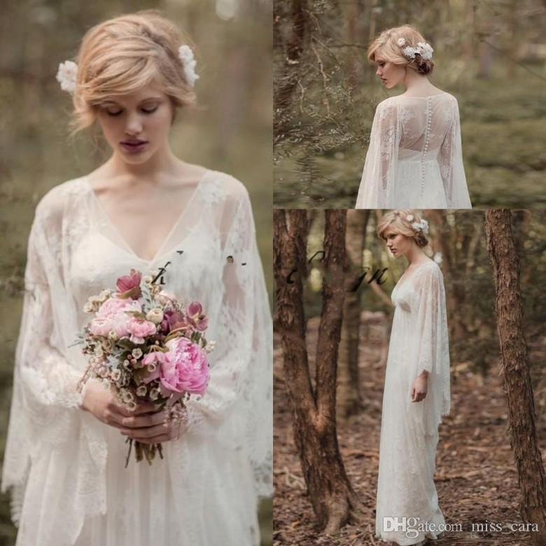 Discount vintage fairy lace into country woods wedding dresses with discount vintage fairy lace into country woods wedding dresses with long sleeve 2018 wedding dress v neck full length boho bridal gown wedding dresses junglespirit Images