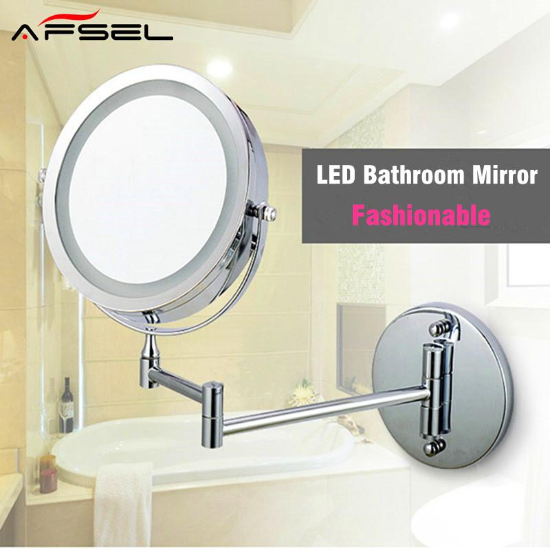 AFSEL Makeup Mirrors LED Wall Mounted Extending Folding Double Side LED  Light Mirror 10x Magnification Bath Mirror Toilet Folding Mirror  Illuminated ...