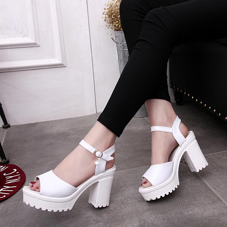 5bdb771b21d 2018 Ankle Strap Heels Women Sandals Summer Shoes Women Open Toe Chunky  High Heels Party Dress Sandals Big Size 40 UK 2019 From Ainiuyue1988