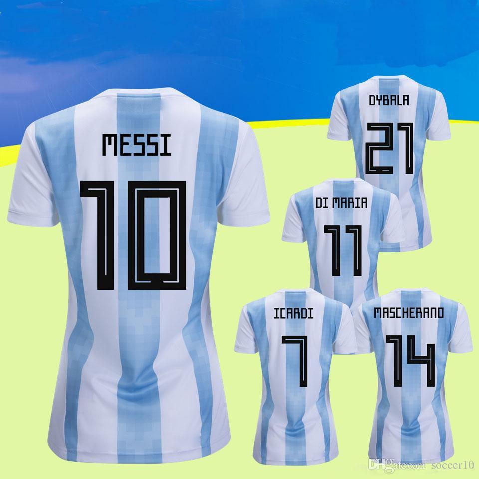 Compre 2018 Copa Do Mundo Argentina Equipe Nacional De Futebol Jersey 10    Messi Feminino Mulheres Cor AzulBranco Tamanho L M S Camisa De Futebol De  ... d4e69ae235a54