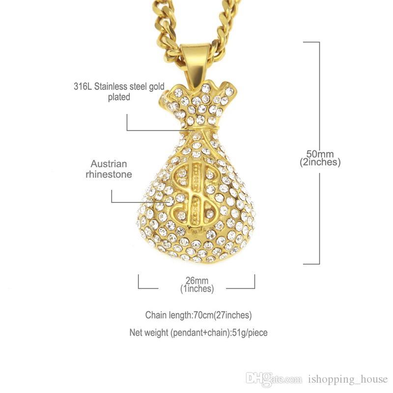 Luxus Hip Hop Halskette 316L Edelstahl Vergoldet Strass Dollar Tasche Anhänger Halskette für Männer Frauen Nizza Geschenk NL-604