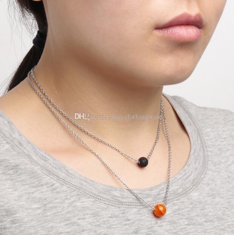 Neue Multilayer 7 Chakra Lava-Rock-Perlen-Halskette Aromatherapie ätherisches Öl Diffusor Halsketten-Edelstahl-Halskette