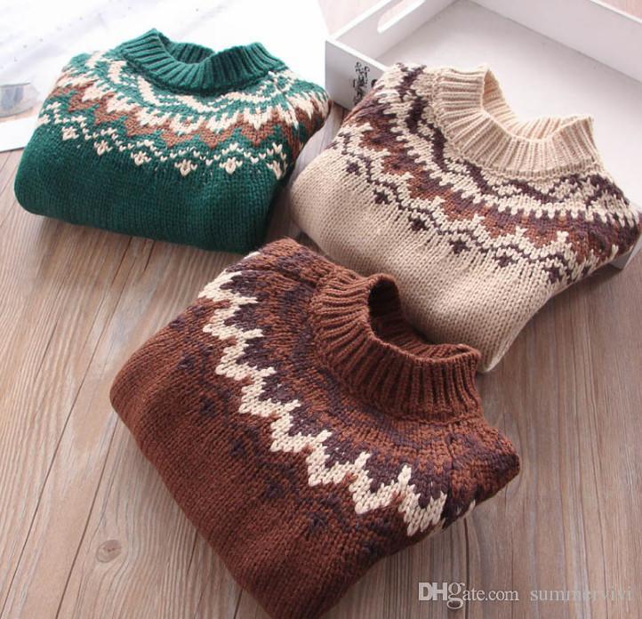 Autumn New Girls Sweater Kids Wave Pattern Knitting Princess