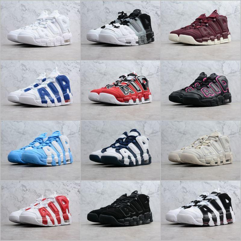 new styles 3df9f 437ac Acheter 2019 Pas Cher Air More Uptempo Hommes Chaussures De Basketball  Stripe Noir Blanc Rouge Bleu PE Chaussures De Basketball Sport Hommes  Baskets De ...