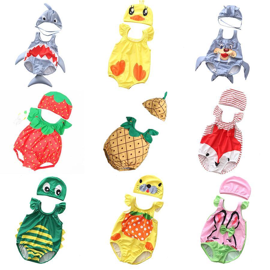 52e90fac329f5 2019 Baby Cartoon Swimsuit 24 Designs Girls Boy Two Pieces Swimwear Animals  Fruits Printing Swimsuit Shark Bear Strawberry Beach Cloth 0 3T From  Tiangeltg, ...
