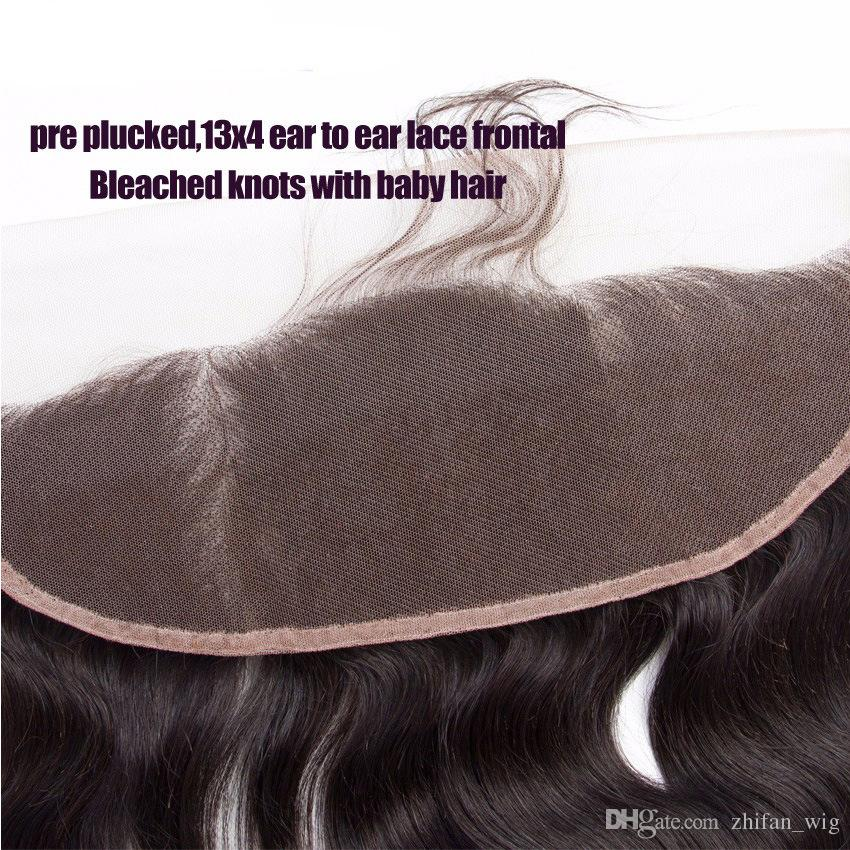 Z&F 13*4cm Lace Frontal 8-20 inch Long Hair Extension 100% Human Hair Top Closures Pieces Soft Natural Color