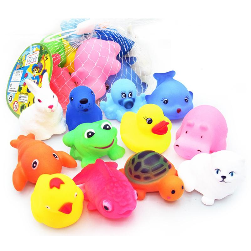 2018 New Born Baby Bath Toys Cute Mini Vinyl Squeeze Sound Animals ...