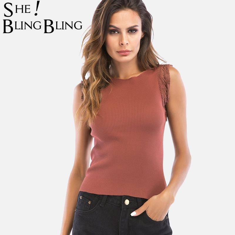 06aa1b5020040e 2019 SheBlingBling Size M XL Crochet Lace Insert Summer Sleeveless Rib Knit  Tops Fashion Boat Neck Slim Fit Women Tanks Casual Tops From Bailanh
