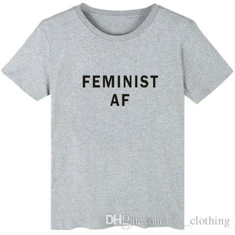 1355c555b05 Compre Camiseta Feminista Cool Palabras AF Elegante Vestido De Manga Corta  Street Leisure Tees Ropa Unisex Pure Color Algodón Camiseta A $15.06 Del ...
