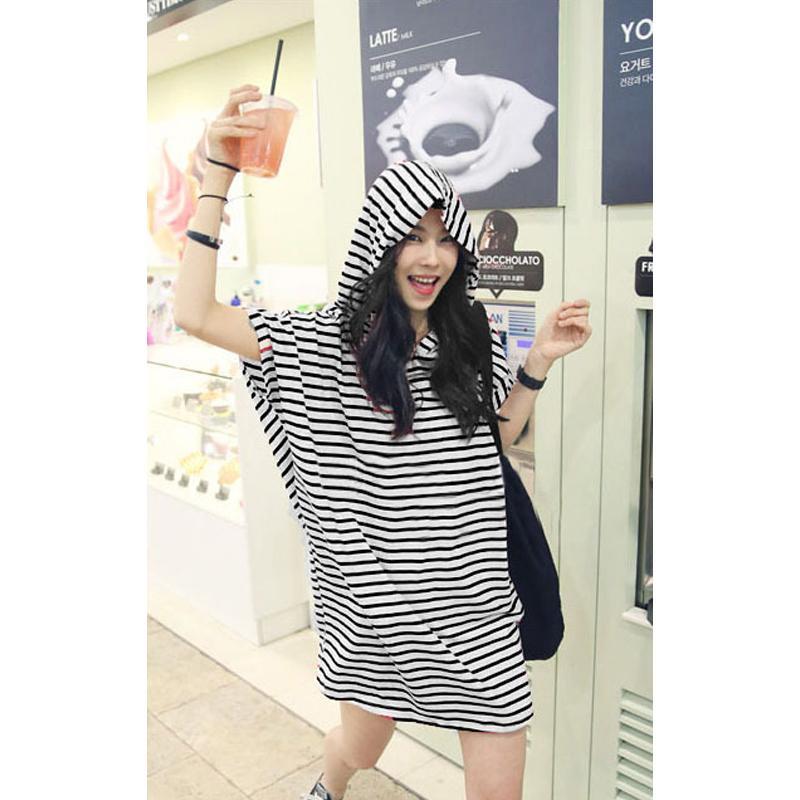 17c38bb463 2019 New Korean Women Striped Hooded Dress Baggy Loose Short Sleeve Summer  Casual Mini Dress Kpop Tshirt Dress Female Knee Length Dresses For Women  Long ...