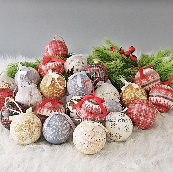 14pcs Pack Dia 7 7 5cm Ribbon Christmas Tree Decor Ball Xmas Party Snowflake Reindeer Hanging Ball Ornament For Home Christmas