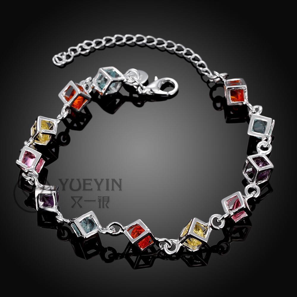 New silver plated bracelets for women Twisted Thick chain wedding jewelry Bridal Jewelry bijoux Elegance elegant H220