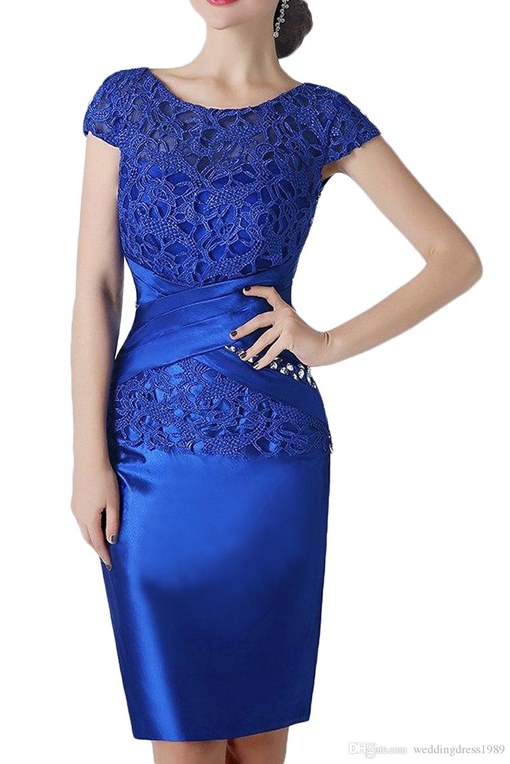 Royal Blue Lace Short Mutter Formelle Kleidung Mit Wrap Mutter des Bräutigams Hochzeit Gast Kleid Abend Mutter Der Braut Kleid Anzug Kleider