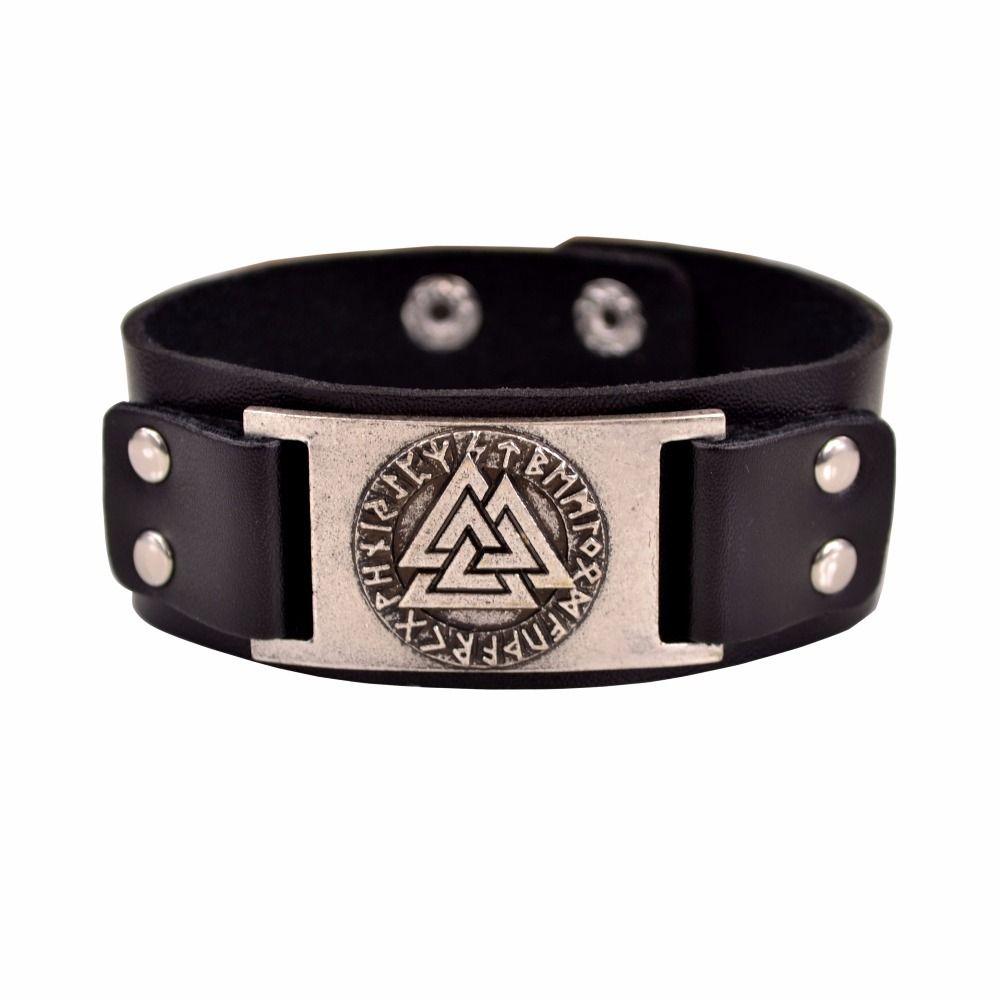 Slavic Norway Valknut Pagan Amulet Male Viking Leather Bracelet