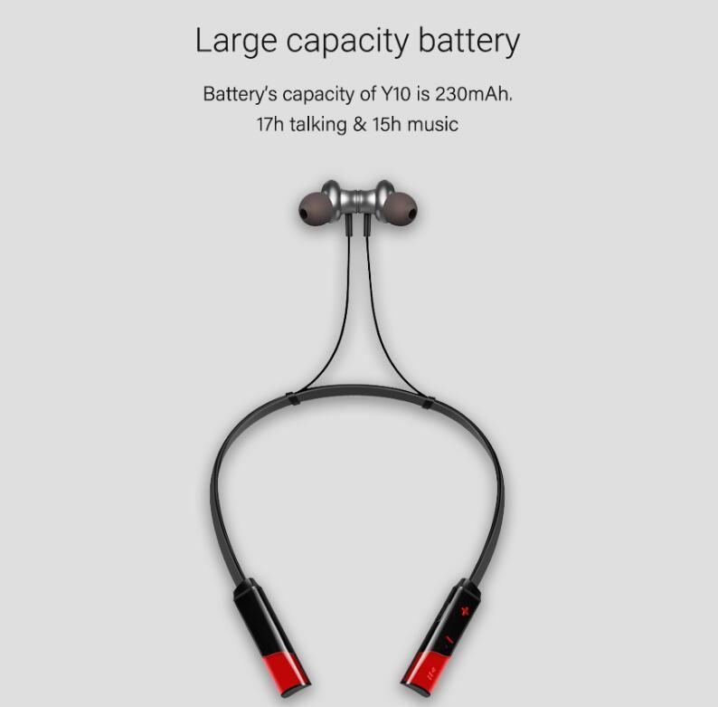 Y10 سماعات بلوتوث لاسلكية محمولة على الرقبة سماعات أذن للهواتف الذكية التي تعمل بتقنية Bluetooth من Android و الهواتف الذكية مع حزمة البيع بالتجزئة 2019