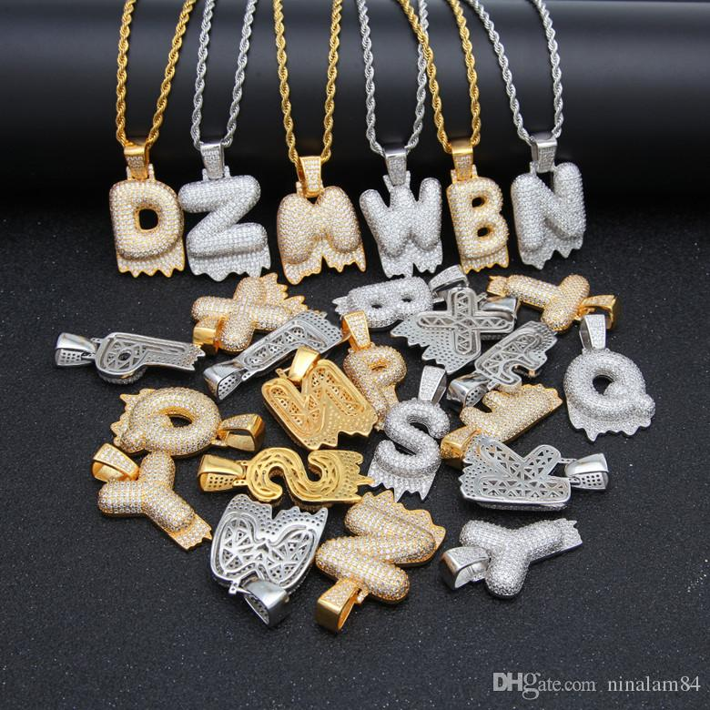 84eb1c6f4 Hot Sell A-Z Custom Name Drip Bubble Letters Necklaces & Pendant Charm  Men's Zircon Hip Hop Bling Jewelry