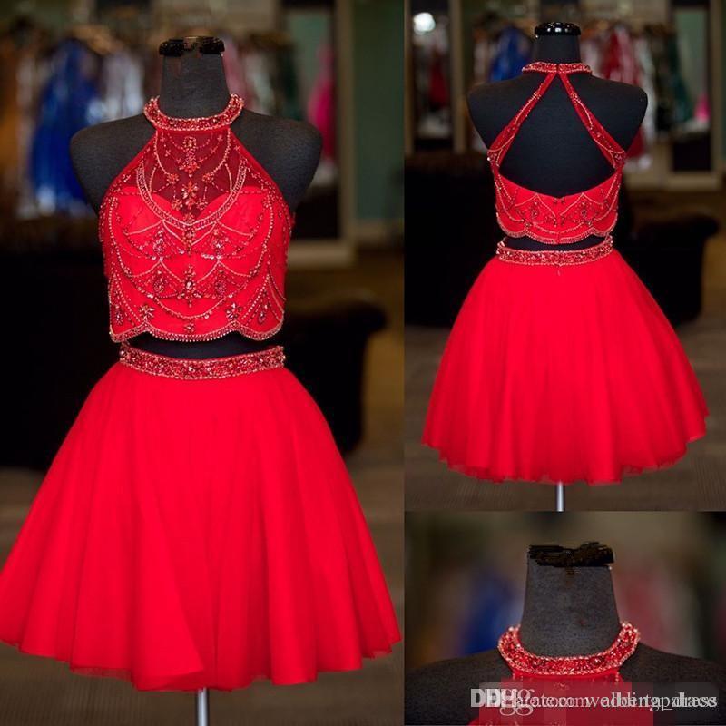 Últimas Halter Neck dos piezas vestidos de fiesta con cuentas Rhinestone cremallera una línea de tul Mini vestidos de cóctel cortos vestidos de baile