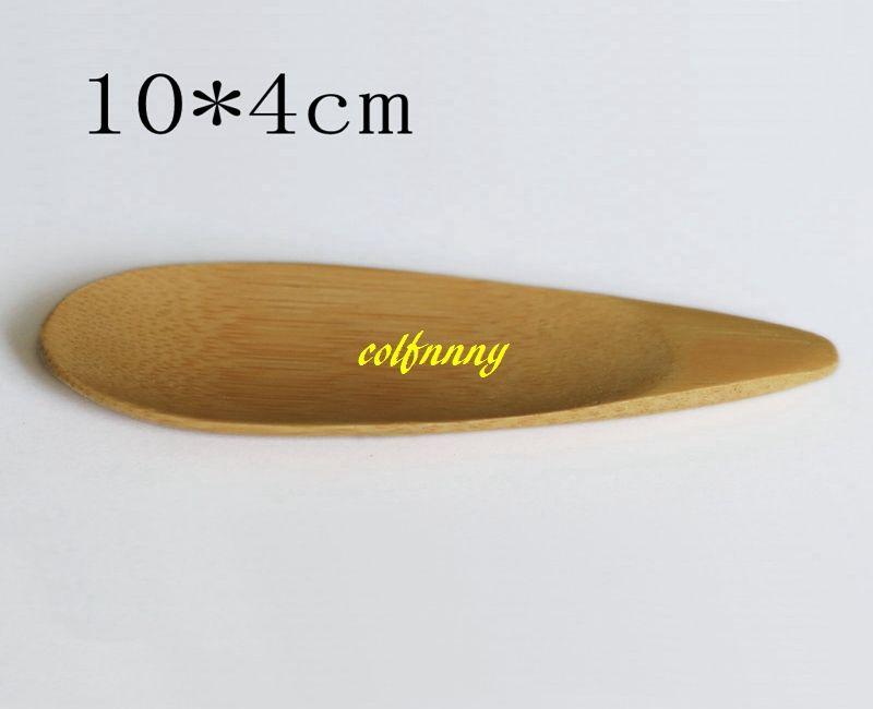 200 pçs / lote 10x4 cm Colher De Bambu Natural Colheres de Chá Mini Curto Lidar Com Gelado de Chá Colher de Chá Ferramentas de Chá Eco Friendly