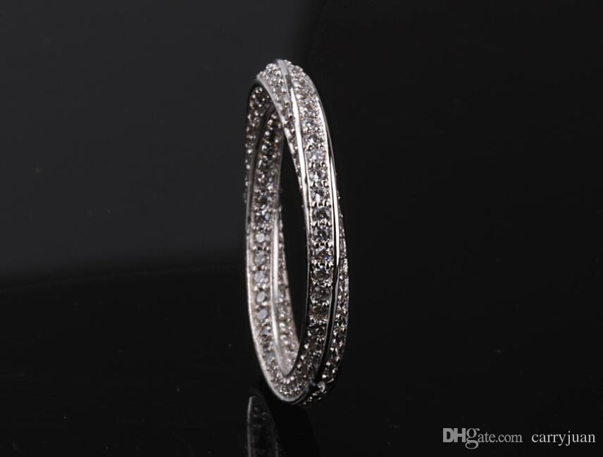 Mobius bande anneaux superbe gros bijoux de luxe en argent Sterling 925 minuscule blanc saphir partie Twist femmes mariage pavé anneau bague cadeau