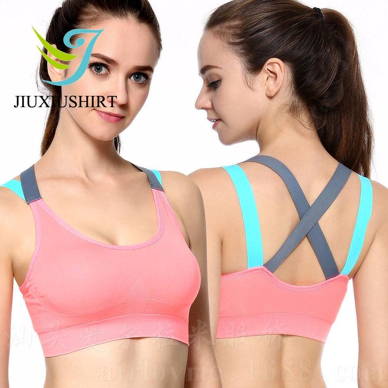 2ad25b2709cc6 Fitness Yoga Push Up Sports Bra For Women Gym Running Padded Tank Top Athletic  Vest Underwear Shockproof Strappy Sport Bra Top UK 2019 From Comen