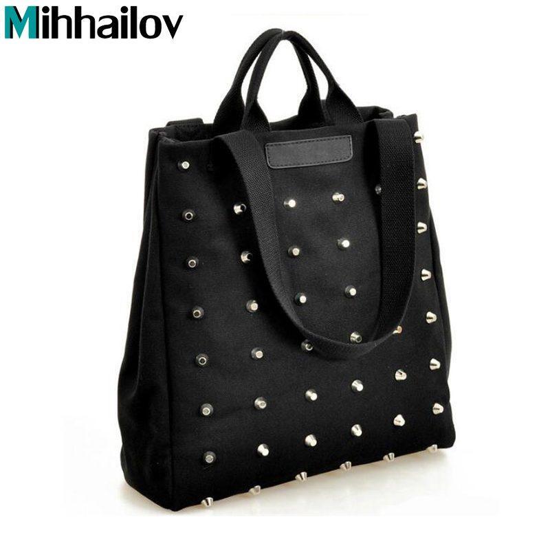 Fashion Rivet Women Handbag Casual Canvas Shoulder Bags Female Tote ... 9e210d2b78