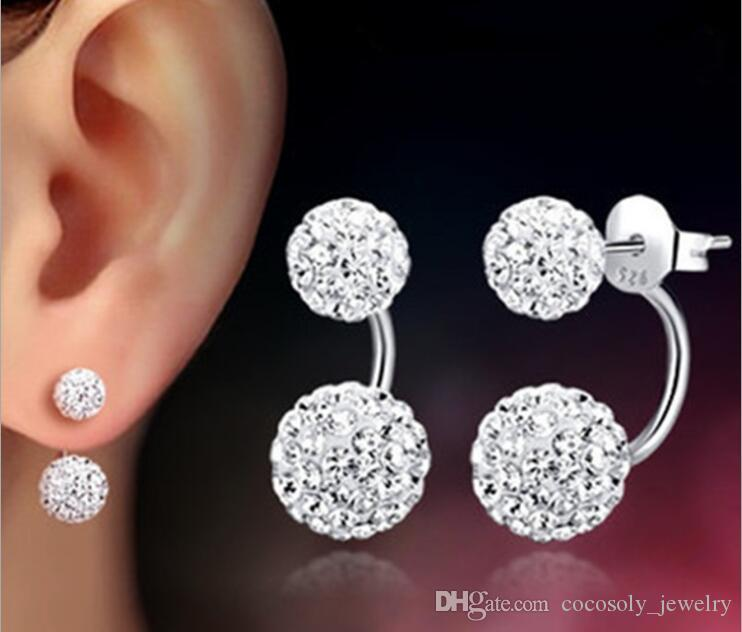 High quality Double sided Shambala Ball Stud Earrings Diamond Crystal disco beads Earings 925 Silver plated fin e Jewelry for women girls