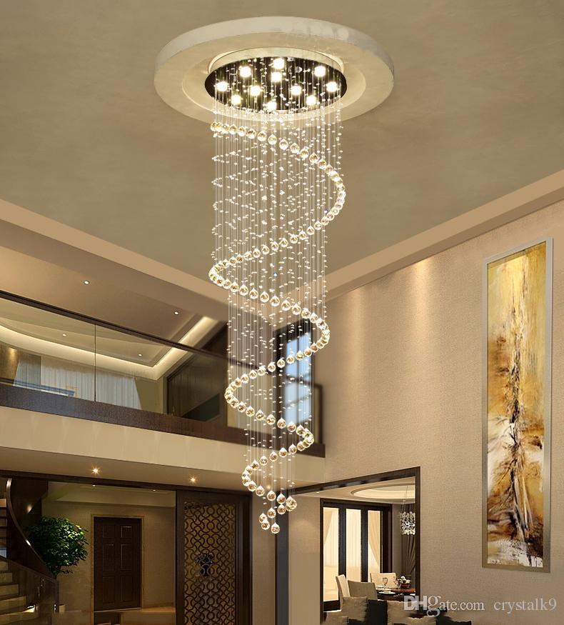 Acheter Double Escalier Rotatif Lampe En Cristal Suspension Lampe
